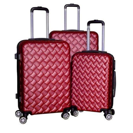 M1405 Zestaw walizek podróżnych bagaż XL+L+M czerwone na 4 kółkach