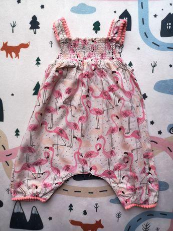 Next flamingi 62 68 niemowlęce ubranko lato letnie dziewczynka