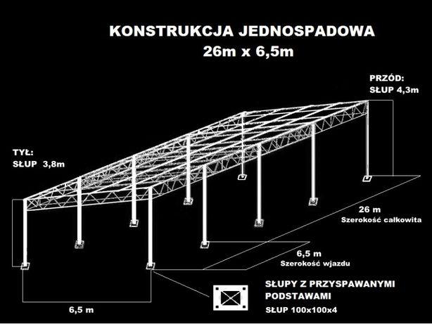 Konstrukcja skręcana wiata rolna garaż 26m x 6,5m Hala Magazyn Blacha