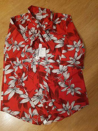 Nowa koszula czerwona w kwiaty Wólczanka Lambert 34 36
