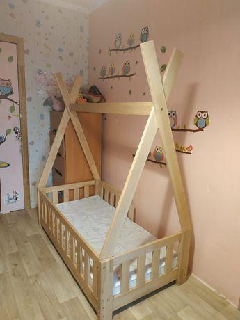 Детская деревянная кровать+матрас в ПОДАРОК!