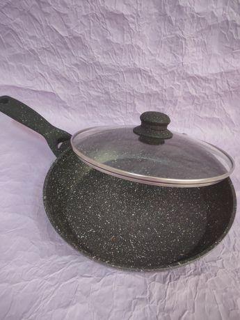 Сковорода глубокая гранитная с крышкой 4 размера Сковородка сковорідка
