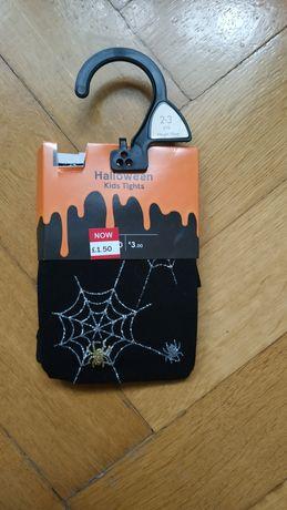 Halloween- rajstopy z motywem pająka na 2-3 lata