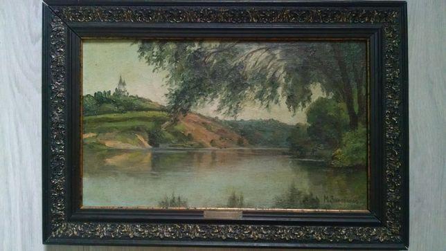 Зиновьев М. И. (1850 г.р.) Пейзаж, фанера/масло, 40*25 см