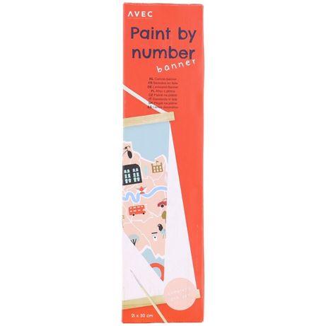 Malowanie po numerach, Afisz z płótna 21 x 32cm + farby, Wzór Londyn