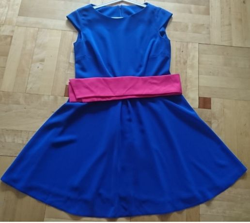 sukienka chabrowa rozkloszowana r M/L