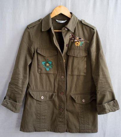 kurtka zielona khaki wojskowa militarna ZARA BASIC DENIM XS