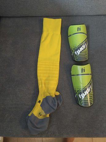 Skarpety piłkarskie żółte rozmiar 39-41 ochraniacze piłkarskie huari