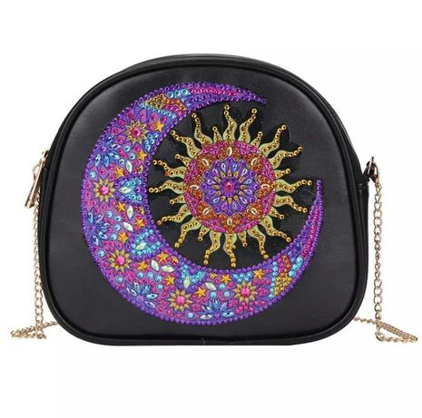 Алмазная мозаика набор для творчества сумка ПУ черная Месяц на цепочке