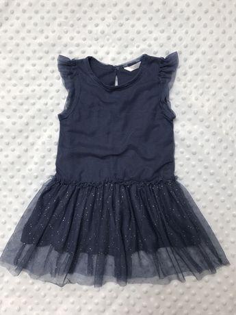 Sukienka granatowa z tiulem Rozm. 104 (3-4 lata)