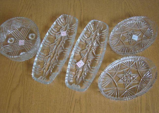 Салатницы, селедочницы из хрусталя, с бирками