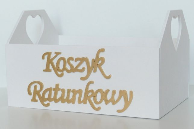 Koszyk Ratunkowy - skrzynka drewniana - niezbędnik - ślub - wesele
