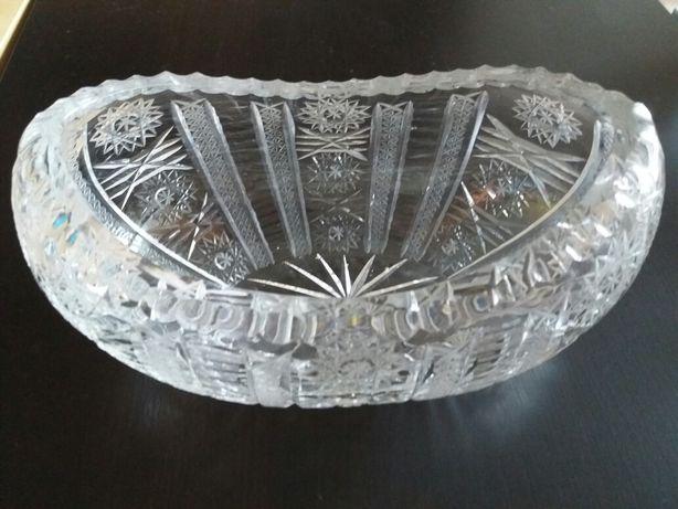 kryształowa Misa patera łódka owocjerka szkatułka