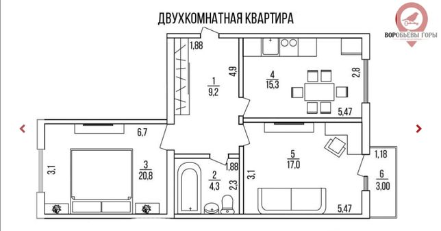 Продам новую 2 комнатную квартиру в ЖК Воробьевы горы на Полях!