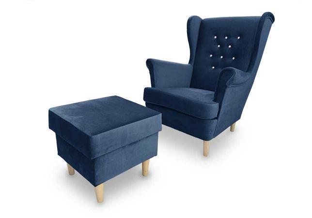 Fotel uszak z kryształkami i podnóżkiem