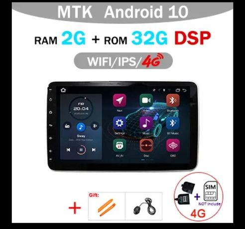 "10"" Polegadas Rádio 2Din Android 10 WiFi GPS Bluetooth DSP 2GB 32G"