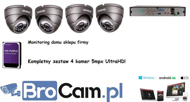 Zestaw 4 kamer 5mpx UltraHD 4-16 kamery do monitoringu Montaż kamer