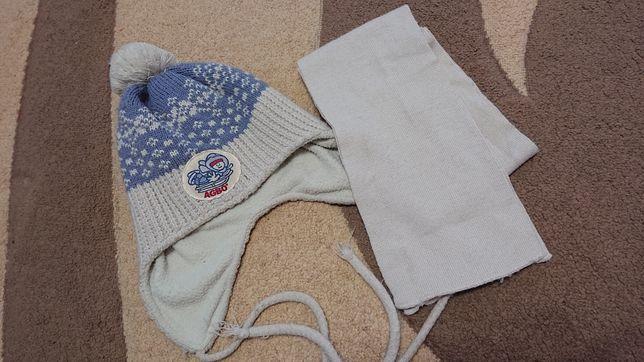 Набор детская зимняя шапка и шарф