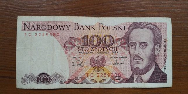 Banknot 100 zł. PRL.