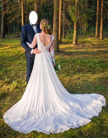Suknia ślubna 34/36 boho, koronka, litera A