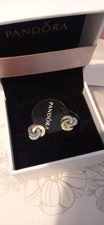Kolczyki Pandora tt z węzłami srebro złoto S925 ALE  G585 pudełko