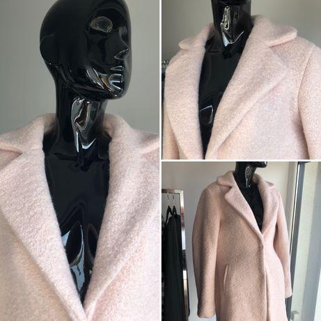 Płaszcz wełniany pudrowy róż - S
