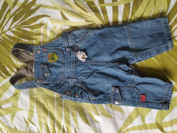 jeansowe ogrodniczki na 6 miesięcy