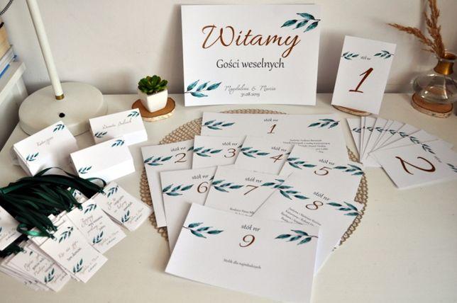 Zestaw weselny, dodatki ślubne,winietki, zawieszki, pudełko na koperty