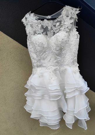 Piękna krótka suknia ślubna r.L/XL Poprawiny ,Cywilny