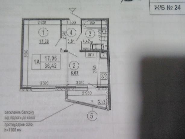 """1к. квартира, ЖК """"Эврика"""", 36,4 м, без комиссии"""