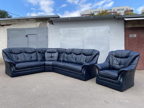 Шкіряний кутовий диван ( Кожаный угловой диван )+ крісло