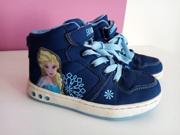 Buty Elsa Kraina Lodu wkładka 19cm, idealne, świecą