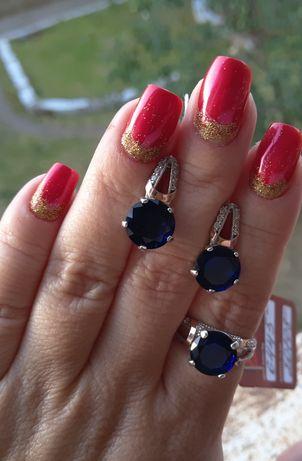 Серьги и кольцо, серебро с золотой пластиной