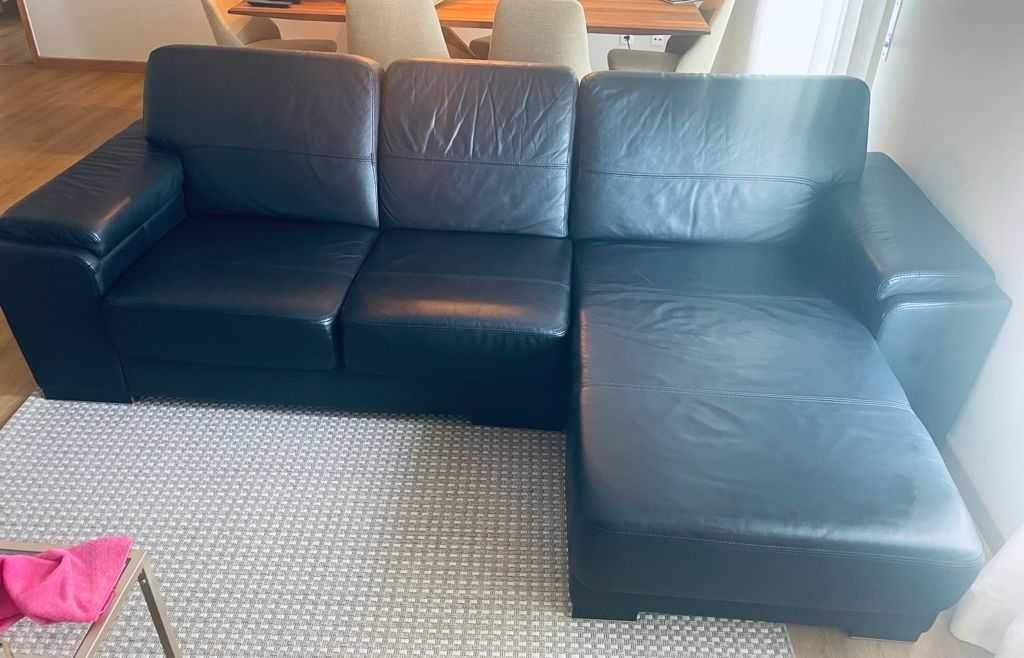 Sofá chaise longue em pele Lourini