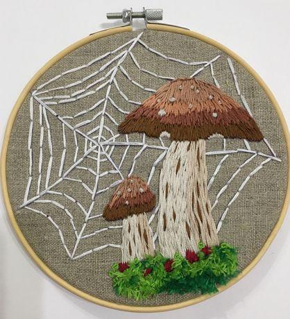 Haft grzyby jesień haftowany obrazek