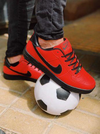 Кроссовки красные с черным Nike Air Force 1 Red & black!!! ХИТ!!