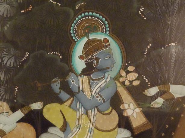 PINTURA INDIANA em pano de Seda ∟ Krishna, Rada & Consortes