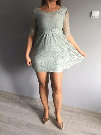 Mini sukienka pastelowa oliwkowa