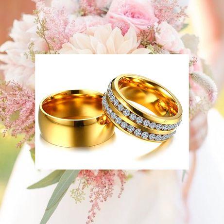 Okazała Para Złotych Obrączek Ślubnych