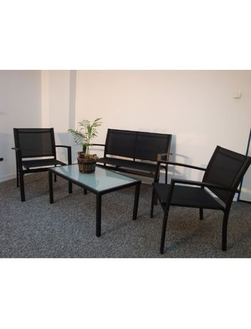 Meble Ogrodowe Zestaw Czarny Sofa+ 2 Krzesła+ Stół