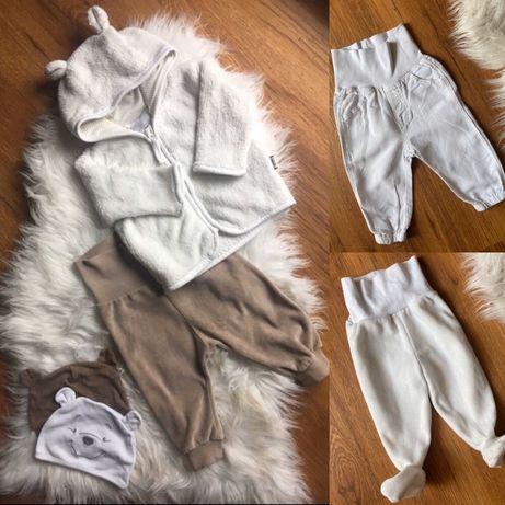 H&M ubrania chłopiec spodnie półśpiochy bluza z uszkami i czapki 62
