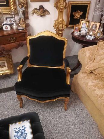 Cadeira bergere veludo preto ( contra fogo) e madeira dourada - LUXO