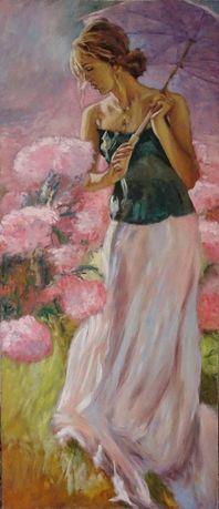 Dama z parasolką. Obraz olejny.