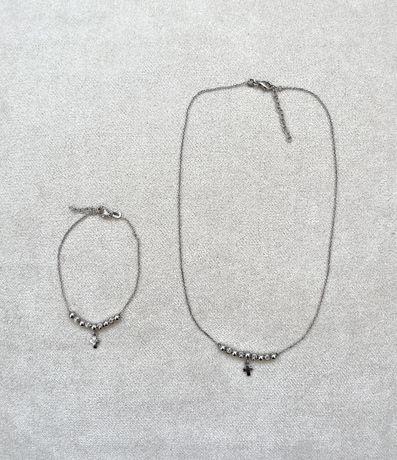 Комплект колье+браслет, серебро 925 проба