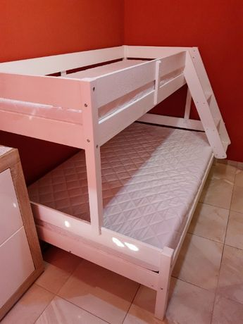 Łózko piętrowe 2-3 osobowe białe całe drewniane