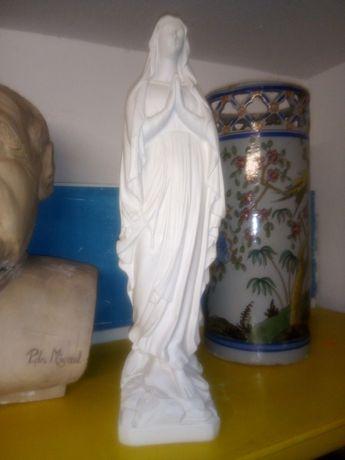 Linda escultura de Nossa Senhora francesa em cerâmica 50 cm de altura