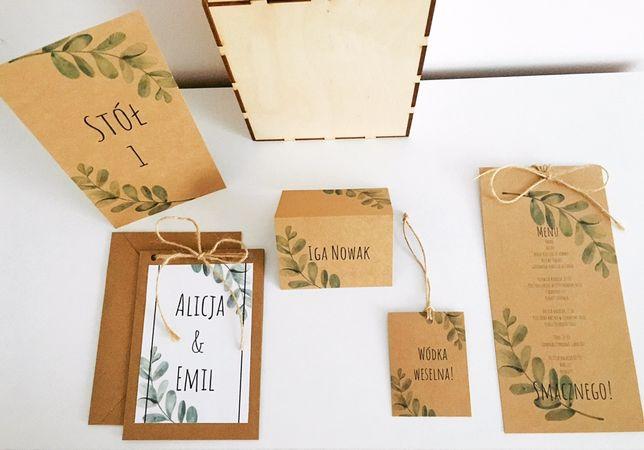 Zaproszenie, menu, oznaczenie stołu. Zestaw ślubny eukaliptus.