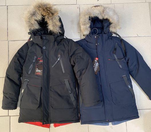 Зимняя детская куртка - пальто парка для мальчика р.146 , р.158