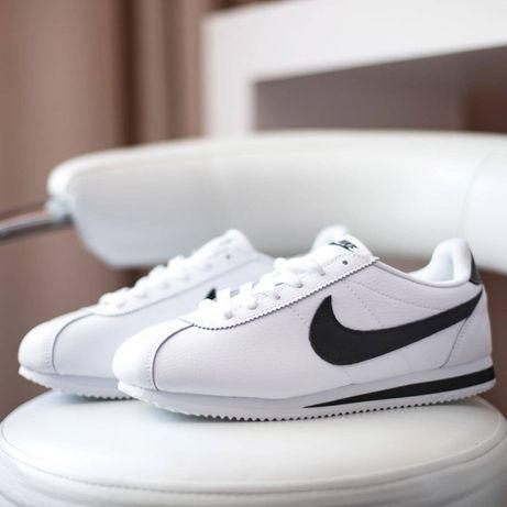 3193 Nike Cortez белые с черным кроссовки мужские кеды кожаные білі