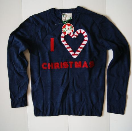 Roz. 40 M 42 L 44 XL Star Clothing sweter 3D navy im love christmas